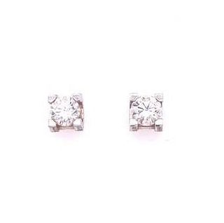Authentic CARTIER Diamond Round Cut Stud Earrings 1.0 CT