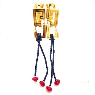 CARTIER 18k Gold, rope & Rubies Earrings