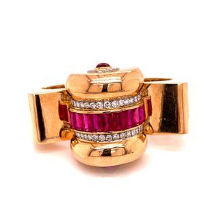 Retro Rubies Diamond 18k Bangle Bracelet