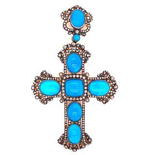 Golden & Silver Turquoise Diamond Cross