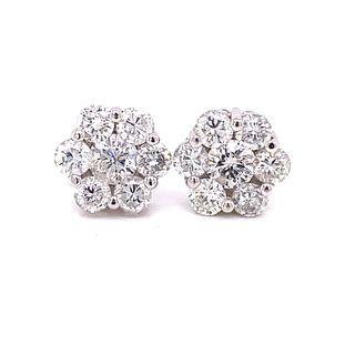 18K Diamond Flower Stud Earrings