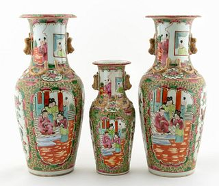 THREE CHINESE ROSE MEDALLION PORCELAIN VASES