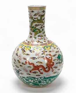 CHINESE FAMILLE ROSE TIANQIUPING FORM VASE