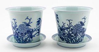 PAIR, CHINESE BLUE & WHITE JARDINIERES, 4PCS