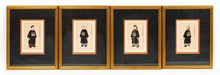 4 PCS CHINESE FIGURAL WATERCOLORS, FRAMED AS SET