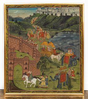 ASIAN ROYAL PROCESSIONAL SCENE, GILTWOOD FRAME