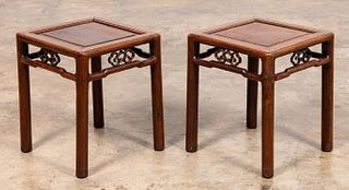 PAIR, CHINESE CARVED HARDWOOD SIDE TABLES