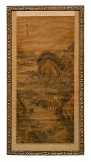 ASIAN SCROLL PAINTING, CHINESE CHIPPENDALE FRAME