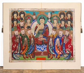 THANGKA, PAINTING ON PAPER, MOUNTED TO CANVAS