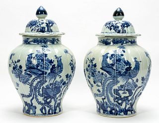 PAIR, CHINESE LIDDED URNS, BLUE & WHITE