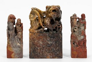 GROUP, THREE CHINESE SOAPSTONE CHOPS/SEALS