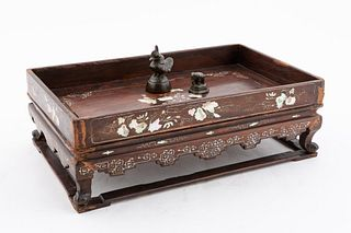 ASIAN OPIUM TRAY WITH TWO FIGURAL WEIGHTS