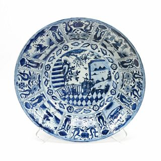 LARGE DELFT BLUE & WHITE CHINOISERIE WASH BOWL
