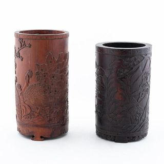 TWO CHINESE CARVED WOOD BRUSH POTS
