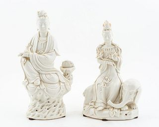 TWO CHINESE BLANC DE CHINE PORCELAIN FIGURES