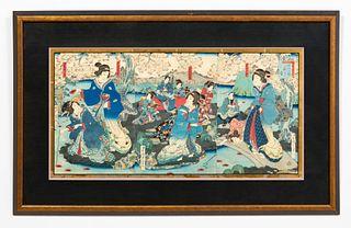 JAPANESE WOODBLOCK, GEISHAS, CHERRY BLOSSOMS