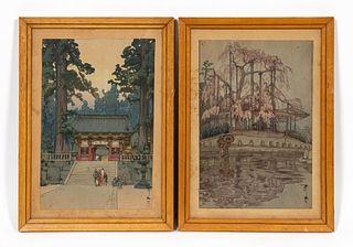 PAIR, YOSHIDA HIROSHI, JAPANESE WOODBLOCKS, FRAMED