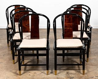 EIGHT HENREDON ASIAN STYLE DINING CHAIRS, LACQUER
