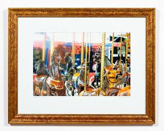 JOHN SUMNER, CAROUSEL, COLOR PHOTOGRAPH, FRAMED