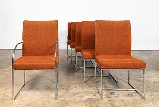 SIX CHROME & UPHOLSTERED THAYER COGGIN CHAIRS