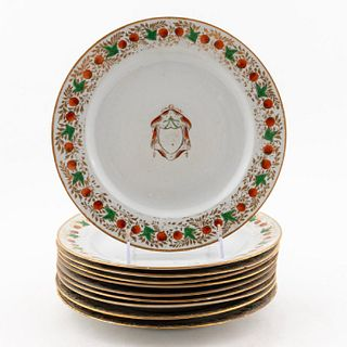 10 PCS, CHINESE EXPORT ARMORIAL PLATES, STRAWBERRY