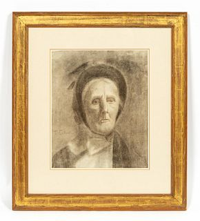 THOMAS EAKINS PORTRAIT OF A LADY, CHARCOAL, FRAMED