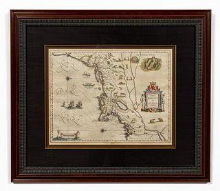 17TH C, MAP OF NEW ENGLAND, WILLEM BLAEU. FRAMED