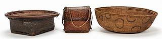3 PCS, COLLECTION OF BASKETS, CHINESE & AFRICAN