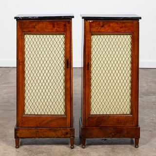PAIR, 19TH C. ITALIAN WALNUT MARBLE TOP CABINETS