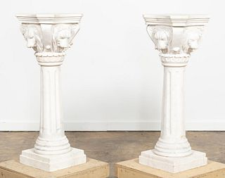 PAIR, LIONS HEAD MARBLE FLUTED PEDESTALS