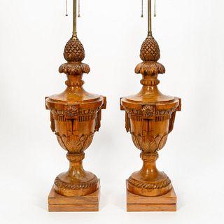 PAIR, ITALIAN ARCHITECTURAL FINIALS AS LAMPS
