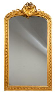 LARGE BAROQUE STYLE GILTWOOD SHELL ACCENT MIRROR