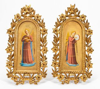 PAIR, O/B ANGEL ICONS IN GILTWOOD GOTHIC FRAMES