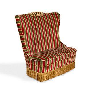 OSVALDO BORSANI C. 1940S STRIPED LOVE SEAT