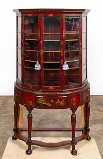 CONTINENTAL RED JAPANNED FIVE SIDED VITRINE