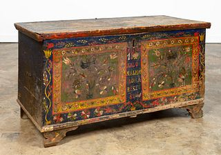 HUNGARIAN POLYCHROME WOOD BLANKET CHEST