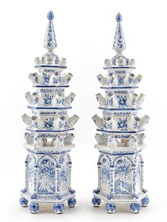 PAIR, DELFT STYLE FOUR-TIER FAIENCE TULIPIERES