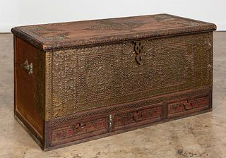 19TH C. MOROCCAN NAILHEAD WOODEN BLANKET CHEST