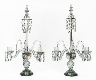 PAIR, CONTINENTAL CRYSTAL CANDELABRUM, TWO ARM