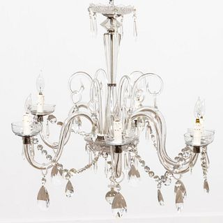 20TH C. CONTINENTAL CRYSTAL SIX-LIGHT CHANDELIER