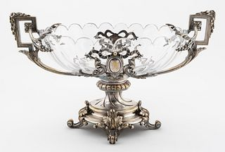 19TH C. FRENCH SILVERPLATE & CRYSTAL CENTERPIECE