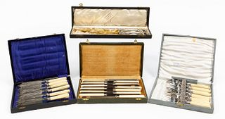 4 BOXED SETS SILVER FLATWARE, CONTINENTAL, ENGLISH