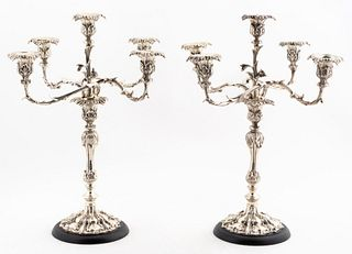 PAIR OF ROCOCO STYLE SILVERPLATE 5 ARM CANDELABRA