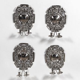 SET OF 4, SILVERPLATE WALL SCONCES, CONTINENTAL