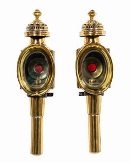 PAIR, CONTINENTAL BRASS CARRIAGE LAMPS