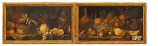 PAIR, LARGE STILL LIFE PAINTINGS, GILTWOOD FRAMES