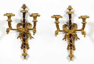 PAIR, GILT BRONZE NEOCLASSICAL STYLE SCONCES