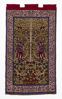 LARGE DOUBLE SIDED PERSIAN FIGURAL WALL TAPESTRY