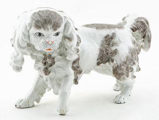 DRESDEN, PEKINGESE PORCELAIN DOG FIGURE
