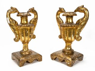 PAIR, GILTWOOD ARCHITECTURAL URNS, CONTINENTAL
